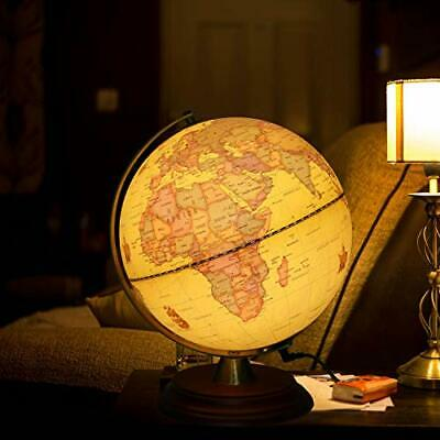 TTKTK Illuminated World Globe for Kids with Wooden Stand
