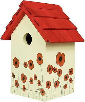 Poppy Bird House Wooden Painted Nesting Wood Box Birdhouse