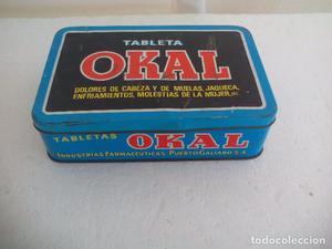 Antigua caja de metal OKAL, Tabletas. De 22,5 x 15 cm.