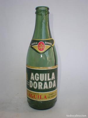 Botella cerveza *AGUILA DORADA* 33 CL. *CRISTAL VERDE*