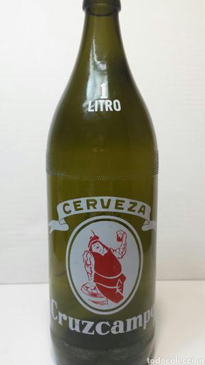 Botella de Cerveza Cruzcampo 1litro vidrio verde oscuro
