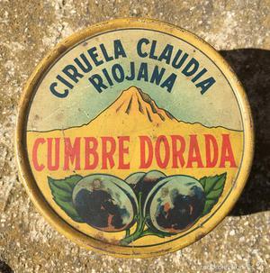 CAJA METAL PUBLICIDAD LITOGRAFIADA CIRUELA CLAUDIA RIOJANA
