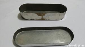 Caja Antigua de acero inoxidable para esterilizar jeringas o