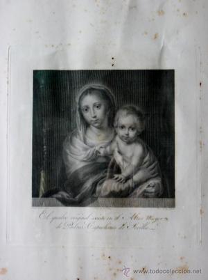 GRABADO VIRGEN DEL ROSARIO ORIGINAL S XVIII - PATRONA DE