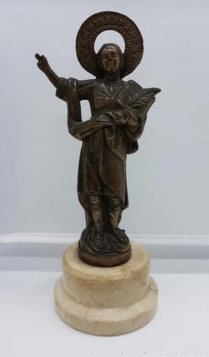 Imagen antigua de San Pancracio en calamina sobre peana de