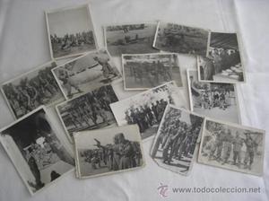 Lote de 14 fotografías. Campamento de Milicias