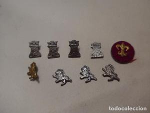 * Lote de insignias antiguas de torre, leon y lis para