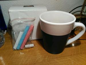 Taza cerámica nueva Repsol con pizarra