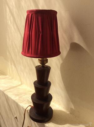 ANTIGUA LAMPARA DE SOBREMESA DE MADERA ART DECO