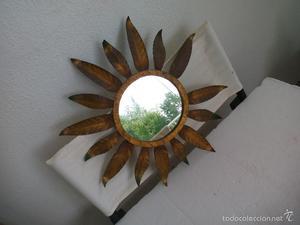 Antiguo Espejo Sol de metal dorado. Retro. Vintage metal Sun