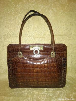 Antiguo bolso de señora de piel de cocodrilo