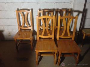 JUEGO DE 6 SILLAS DE COMEDOR-COCINA -PROBENZAL en madera