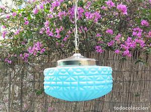 Lámpara opalina turquesa Art Decó / Art Deco Turquoise
