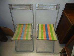 Pareja de sillas de playa o camping plegables
