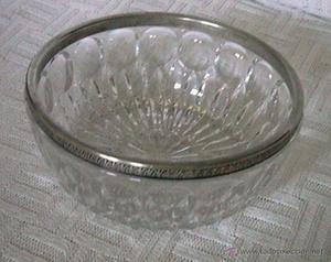 centro de mesa frutero cristal tallado