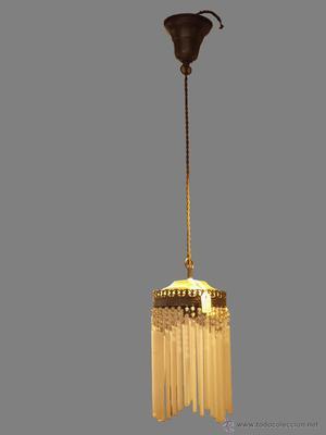 lampara de techo laton envejecido, cristal tubos