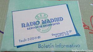 Antiguo boletín informativo Radio Madrid servicio de