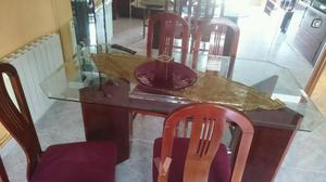 Mesa comedor de 4 plazas en cristal