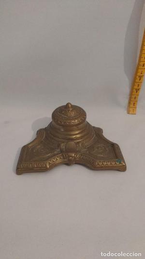 Precioso tintero modelo Brevet metal bronce y cerámica