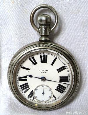 Antiguo Gran Reloj De Bolsillo Elgin Usa 7 Jewels