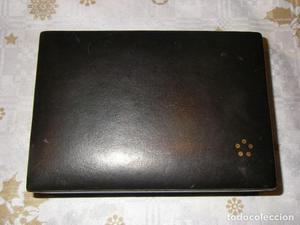 Caja de reloj ETERNA-MATIC, madera y piel negra.
