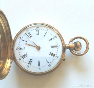 Geneve Reloj Bolsillo Señora 3 tapas Oro 18 k y 10 rubis,