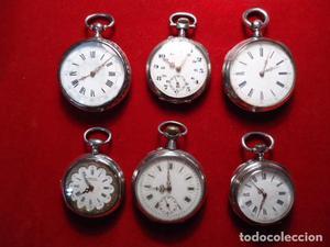 Lote 6 relojes bolsillo lepine plata, finales S XIX,