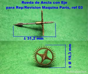 Rueda de Ancla con Eje para Rep/Revision Maquina Paris, ref