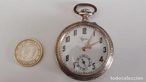 reloj bolsillo marca Egra de plata con tres tapas de