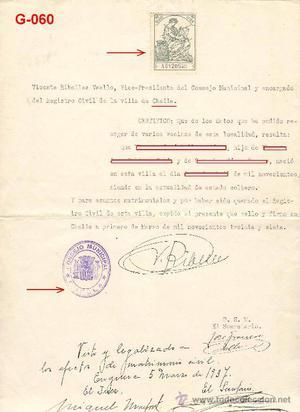 DOCUMENTO DEL REGISTRO CIVIL DE CHELLA. (GUERRA CIVIL ).