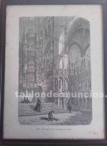 Dibujo vista interior de la catedral de toledo