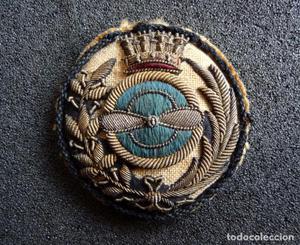 (JX-) Emblema o medalla bordada de Aviación, época