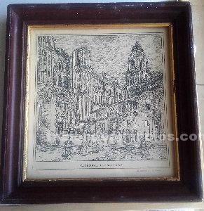 Serigrafia antigua de la catedral de málaga