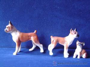 3 figuras de perros de porcelana Miniatura altura 5 cms