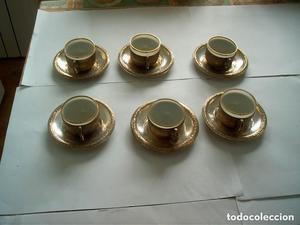 ANTIGUO JUEGO DE CAFE DE 6 TAZAS PLATEADO SIN PUNZON