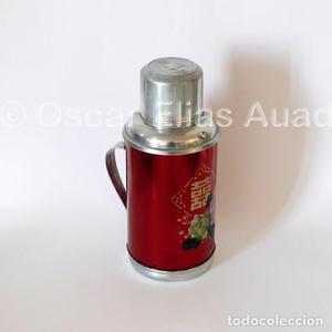 Antiguo termo de aluminio, de tres piezas. Marca Deer Brand.