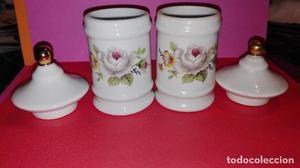 Conjunto de tarritos de porcelana antigua