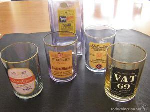 Juego de botella y 4 vasos de whisky