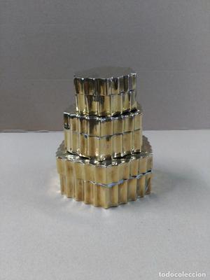 Juego de cajas 3 en 1 en metal dorado