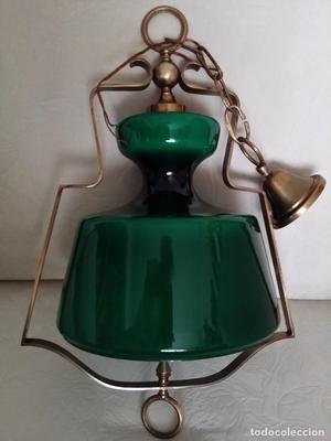 LAMPARA DE TECHO CRISTAL Y BRONCE