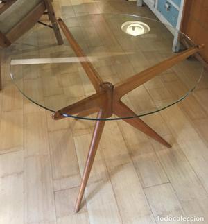 Mesa auxiliar 3 patas madera y sobre de cristal