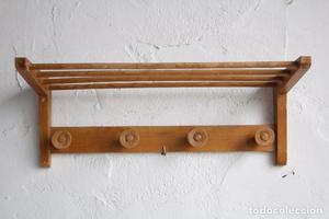 Perchero pared antiguo a os 50 madera de casta o posot class - Percheros de pared de madera ...