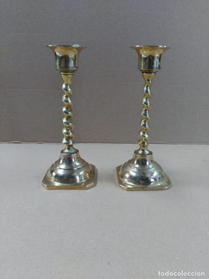 Pareja de candelabros en bronce 1 luz