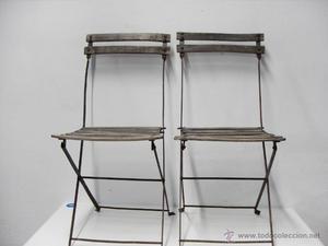 Pareja sillas de jardín en hierro y madera