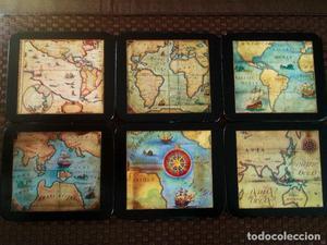 Posavasos - juego de 6 posavasos con mapas antiguas