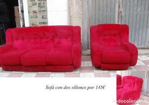 Sofá rojo y dos sillones de peluche!!