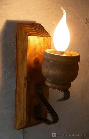 Almirecero de madera almirez y maja antig os posot class - Lamparas y apliques rusticos ...