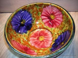 centro de mesa om frutero ceramica esmaltada de manises