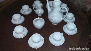 juego de café de porcelana irabia, 10 servicios, cafetera,