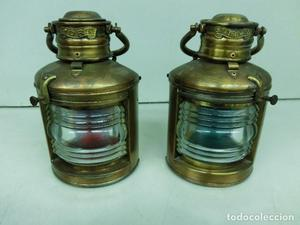 preciosa pareja de faroles de bronce